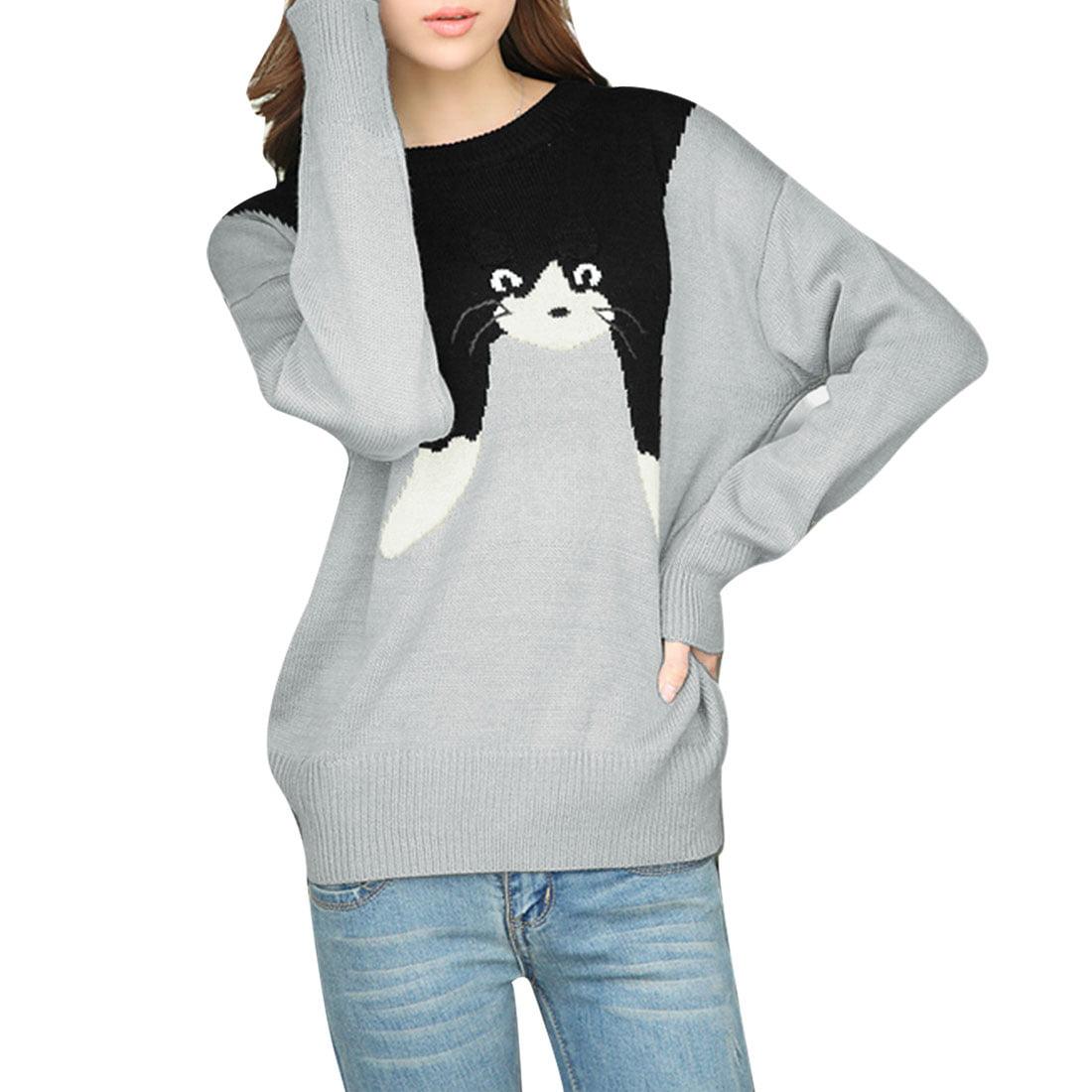 Allegra K Women's Dolman Sleeves Cartoon Sweater