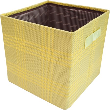 Pivoine JAS33510-D08 Foldable Paperboard Storage Bin Light Grey and Yellow