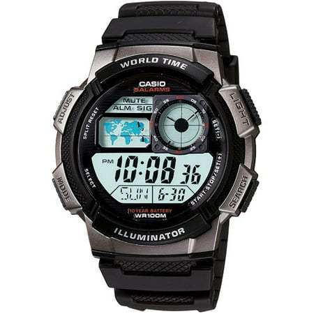 Men's Digital Sport Watch With Time Zone Display, Resin Band ()