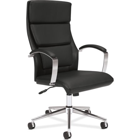Sharp Series Leather - basyx VL105 Series Executive High-Back Chair, Black Leather