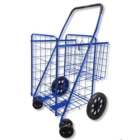Folding Shopping Cart Double Basket Swivel Wheel Jumbo 360 Easy Rotation With Free Liner And Cargo Net By Scf  Blue With Black Liner