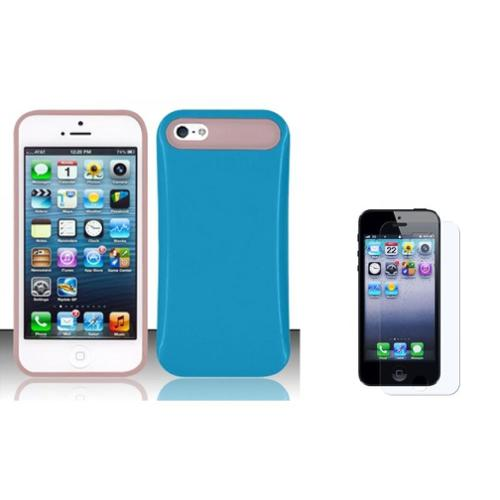 Insten Rubber Silicone Case + Screen Protector For Apple iPhone SE 5/5S - Blue/Pink