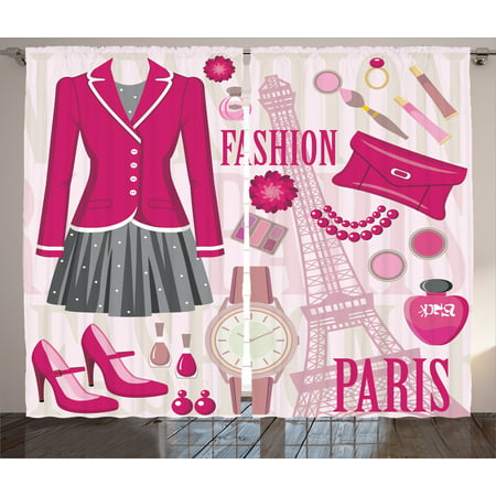 (Girly Decor Curtains 2 Panels Set, Fashion Theme in Paris with Outfits Dress Watch Purse Perfume Parisienne Decor, Window Drapes for Living Room Bedroom, 108W X 84L Inches, Pink Biege, by Ambesonne)