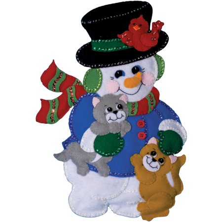Design Works Felt Applique Kit, Snowman with Cats