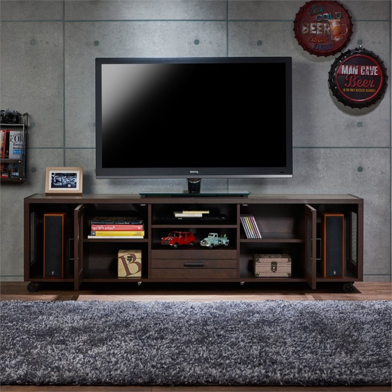 "Furniture of America Gamora 70"" Industrial TV Stand in Vintage Walnut"