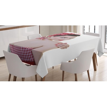 Pin up Girl Tablecloth, A Young Lady Wearing Gingham Patterned Halter-Neck Bikini Top and a Bandana, Rectangular Table Cover for Dining Room Kitchen, 52 X 70 Inches, Multicolor, by Ambesonne (Bandana Tablecloth)