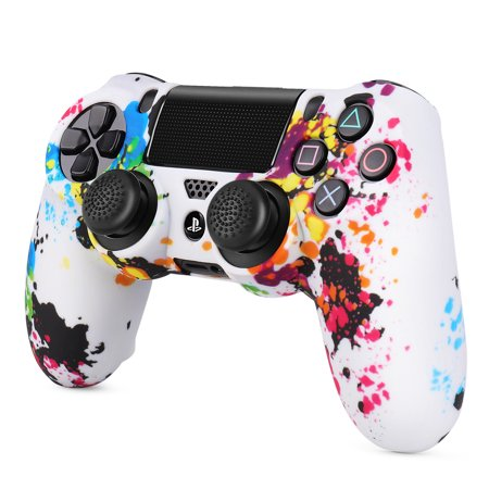 PS4 / Slim / Pro Controller Skin Grip Cover Case Set - Protective Soft Silicone Gel Rubber Shell & Anti-slip Thumb Stick Caps for Sony PlayStation 4 Controller Gaming Gamepad (Splash) Pro Stick Shifter