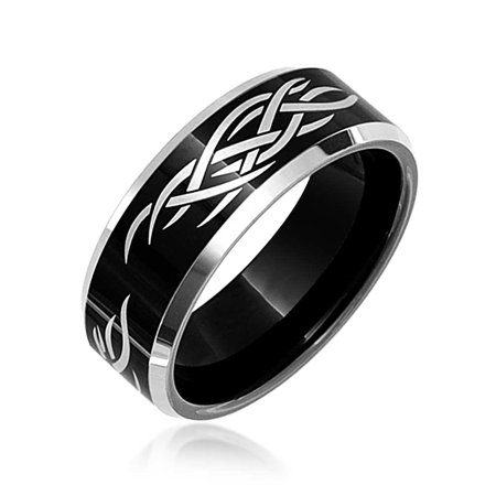 - Laser Etched Black Tungsten Comfort Fit Tribal Design Wedding Ring Band 8mm