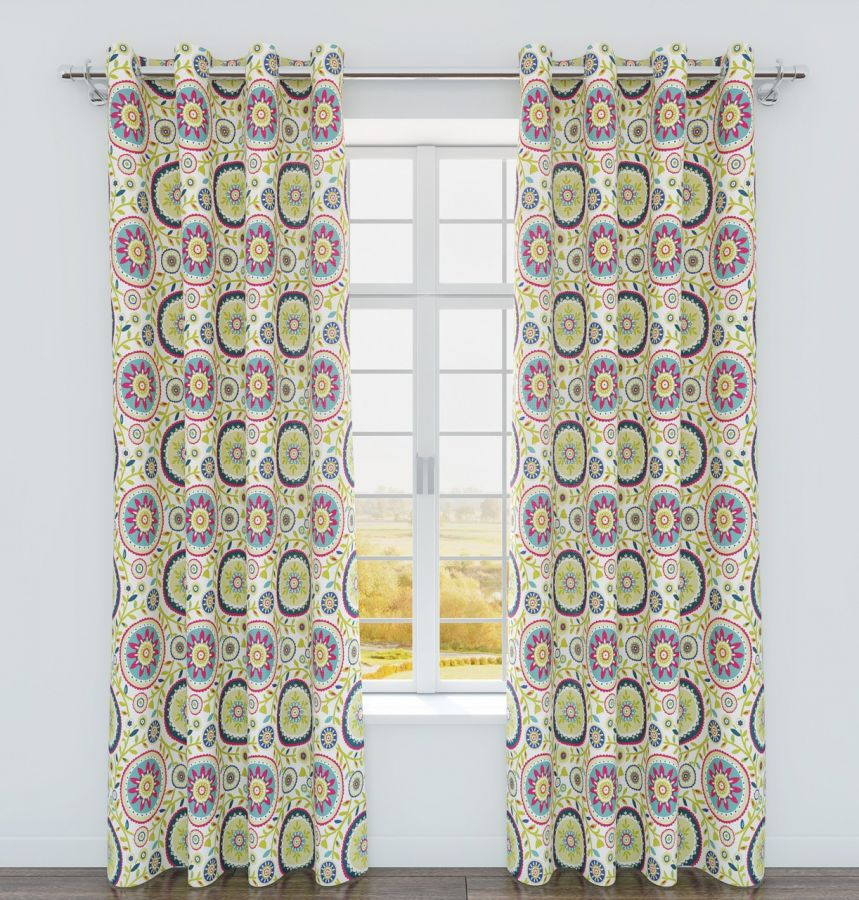 Belle Maison Iris Printed Grommet Top Curtain Panel - Sorbet 84-in long