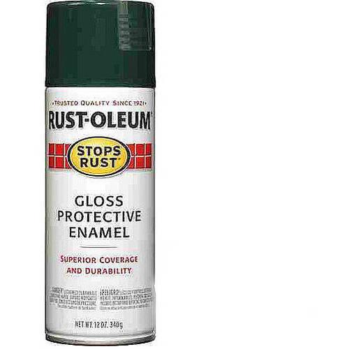 Rust-Oleum Stops Rust Gloss Protective Enamel Dark Hunter Green Spray Paint, 12 oz