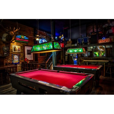 LAMINATED POSTER Pool Tables Lights Bar Billiards Signs Neon Pub Poster Print 24 x 36