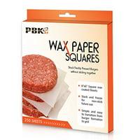"""Hamburger Patty Paper Sheets, Wax Paper Squares 250 pcs 6"""" X 6"""" Non-Stick"""