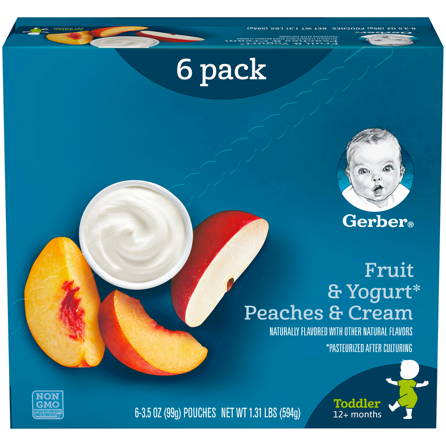 Gerber Toddler Fruit & Yogurt Peaches & Cream, 3.5 oz Pouch (Pack of 6)