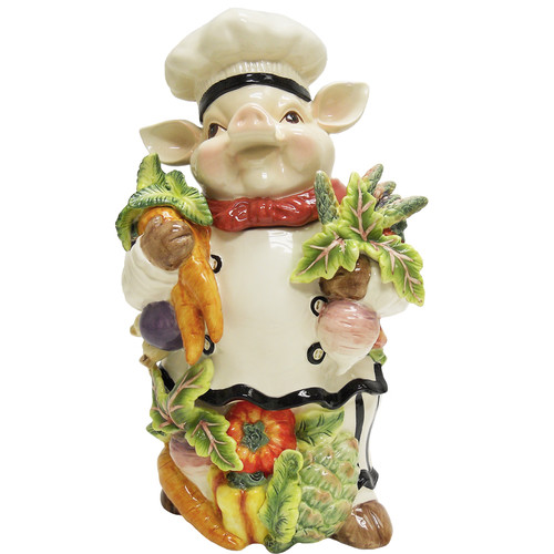 Kaldun & Bogle Bistro Couchon Chef Pig 3 qt. Cookie Jar
