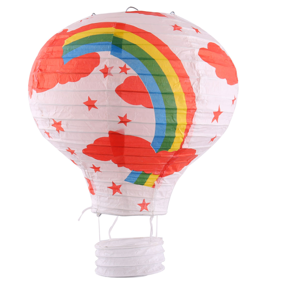 Paper Rainbow Pattern Hanging Decor Hot Air Balloon Lantern White 10 Inches Dia