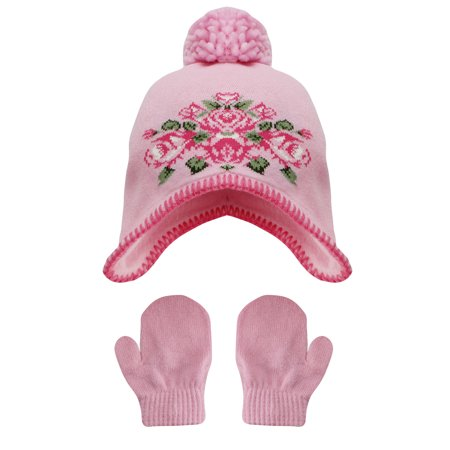 Little Me - Little Me Girls Floral Pom Pom Winter Hat and Mitten Set ... ef76a446078d