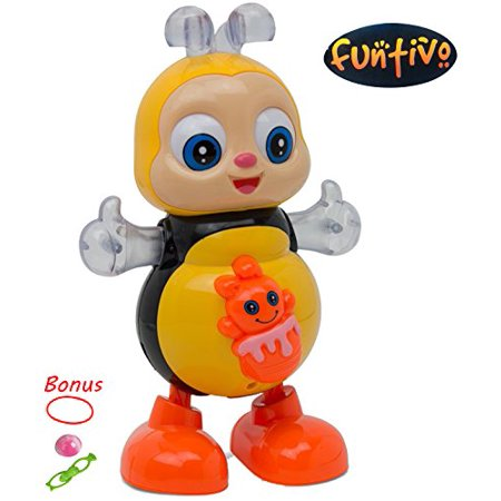 FUNTIVO Happy Bee Dancing Swing with Lights and Music, Battery Operated  babies/kids Action Toy, Size: 8 5''