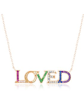 025958516e7 Product Image Rainbow Cubic Zirconia Loved Necklace in Rose Gold over  Sterling Silver