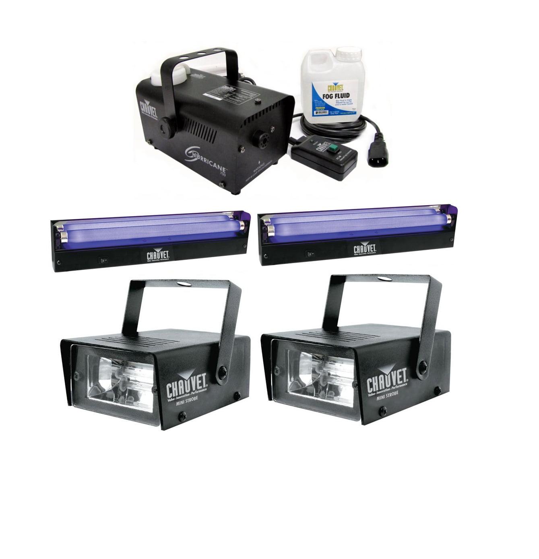 2 CHAUVET Mini Strobe Lights + Hurricane H700 Fog Machine + 2 NV-F18 Blacklights