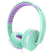 On Ear Headphones with Mic, Jelly Comb Foldable Corded Headphones Wired Headsets with Microphone, Volume Control for Cell Phone, Tablet, PC, Laptop, MP3/4, Video Game (Green)