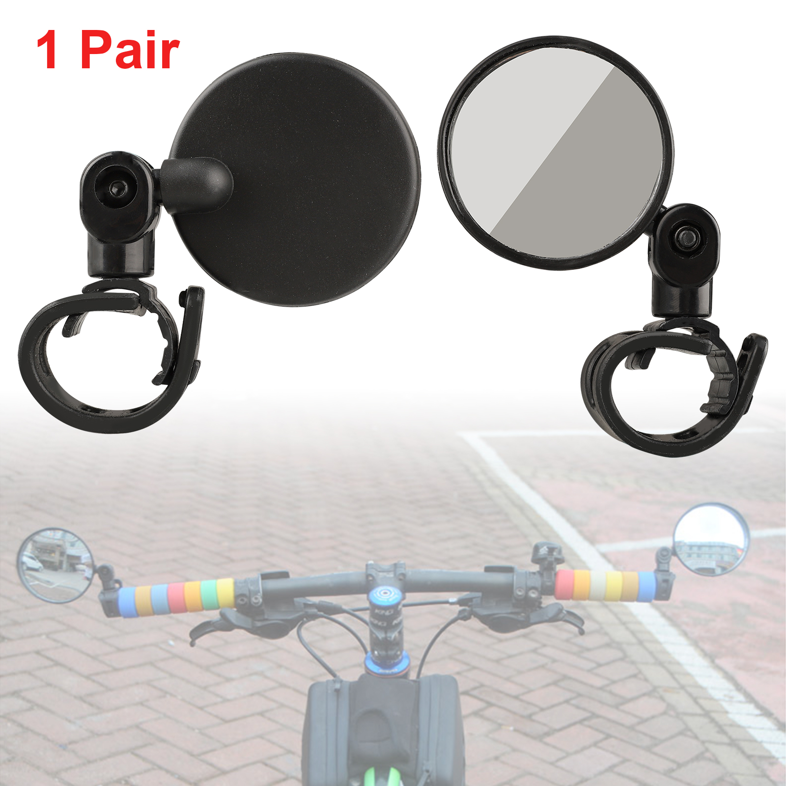 1 Pair Bike Bicycle Cycling Cycle Handlebar Glass Rear View Rearview Mirror