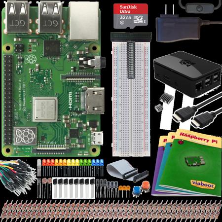 Viaboot Raspberry Pi 3 B+ Ultimate Kit with Premium Black Case](raspberry pi electronics starter kit)