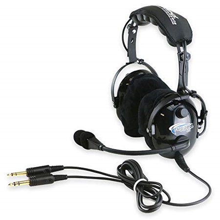rugged air ra900 general aviation pilot headset with stereo/mono switch, ga dual plugs and mp3 music input - includes gel ear seals and cloth ear covers