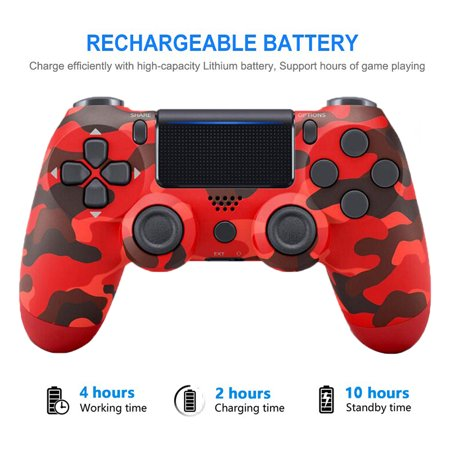 Wireless PS4 Controller Bluetooth Gamepad Joystick For 4 Game Console PC Steam Color:Camouflage red - image 7 de 8