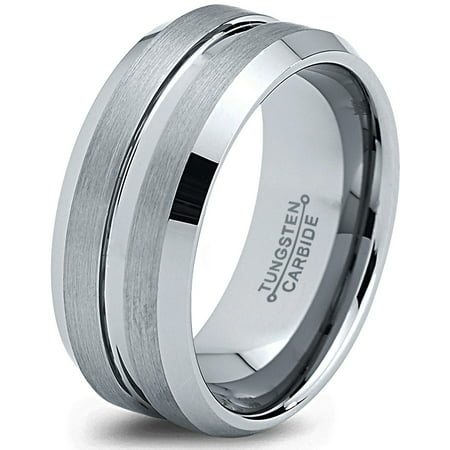 Charming Jewelers Tungsten Wedding Band Ring 8mm for Men Women Comfort Fit Beveled Edge Polished Lifetime - Carved Comfort Fit Wedding Band