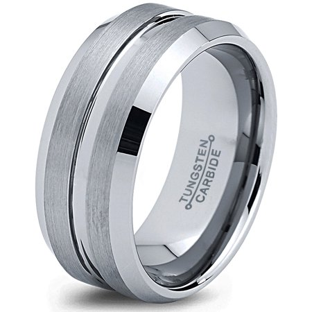 Charming Jewelers Tungsten Wedding Band Ring 8mm for Men Women Comfort Fit Beveled Edge Polished Lifetime - Thorsten Van