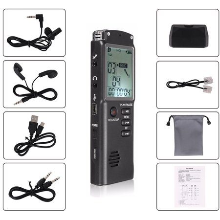 8GB 60HR Clear Noise Cancelling Digital LCD Voice Activated Sound Audio Voice Recorder Dictaphone MP3 Player+Earphone +Cable with Speaker USB Rechargeable for Lectures, Meetings ()