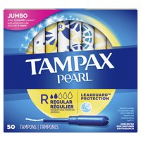 Tampax Pearl Regular Absorbency Plastic Tampons, Unscented, 50 Ct