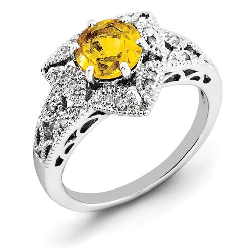 Sterling Silver Round Citrine & Diamond Ring. Carat Wt- 0.08ct. Gem Wt- 1.25ct