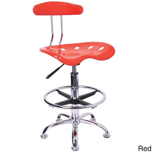 Offex Chrome Drafting Stool with Tractor Seat Red