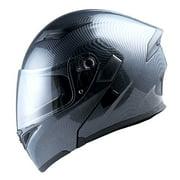 1Storm Motorcycle Street Bike Modular Flip up Dual Visor Full Face Helmet Carbon Fiber Black