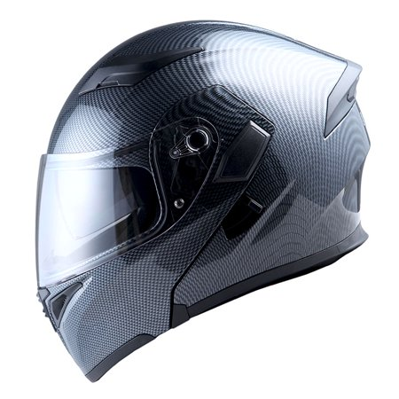 - 1Storm Motorcycle Street Bike Modular Flip up Dual Visor Full Face Helmet Carbon Fiber Black