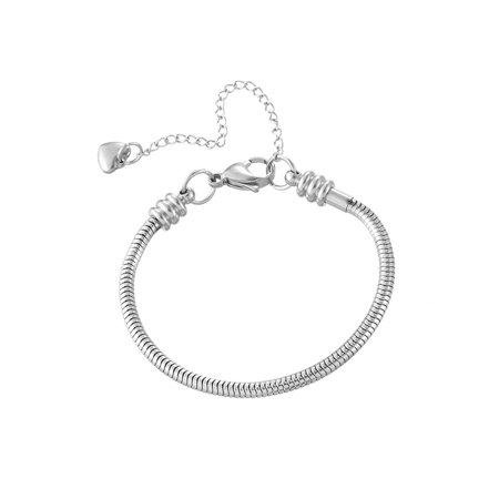 Stainless Steel Silver Heart Charm Snake Chain Bangle Jewelry Fashion Bracelet
