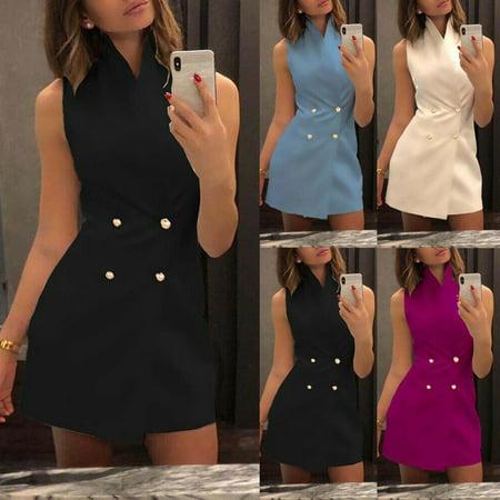 Multitrust Women's Bodycon Collar Blazer Double Breasted Sleeveless Work Formal Mini - Double Collar Dress