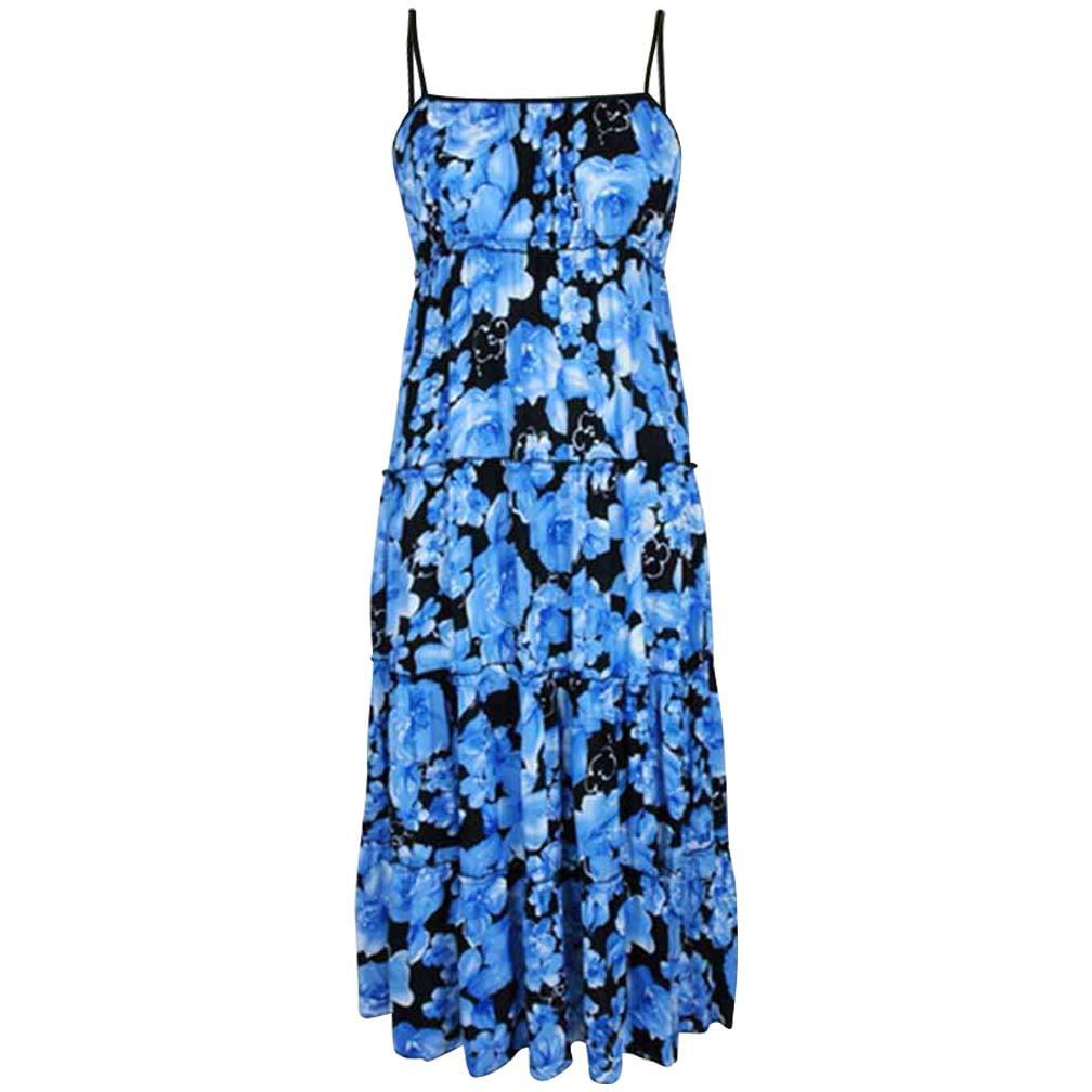 Luxury Divas Multicolor Boho Print Empire Waist Maxi Dress