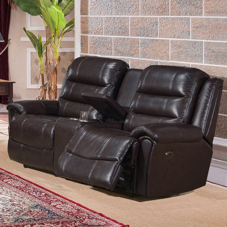 Image of Amax Astoria Leather Reclining Loveseat