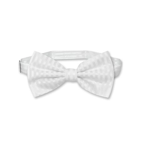 Vesuvio Napoli BOWTie WHITE Color Striped Vertical Stripes Men's Bow Tie - White Bowtie