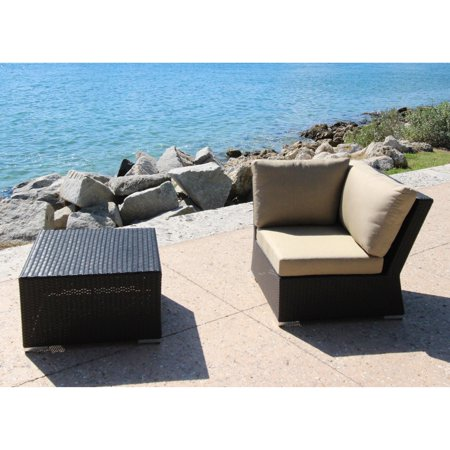 Bellini Home and Gardens Teana Wicker 2 Piece Patio Sectional Corner Chair and Coffee Table Set