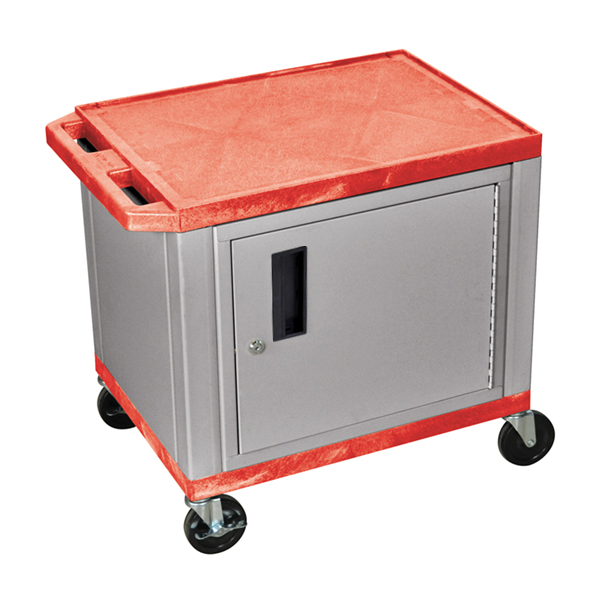 H WILSON WT26RC4E-N 2-Shelf AV Cart with Cabinet, Tuffy, Red