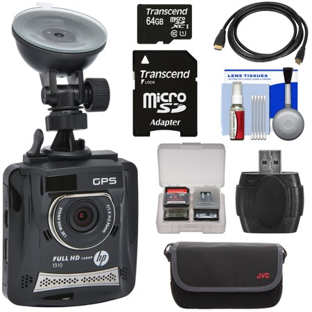 HP f310 1080p HD GPS G-Force Car Dashboard Video Recorder Camera with 64GB Card + Case + HDMI Cable +
