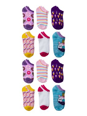 Wonder Nation Girls Socks, 12 Pack No Show Printed Sizes S - L