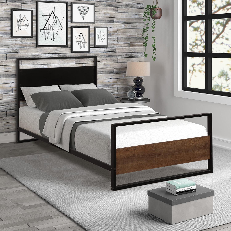 Metal Twin Platform Bed Frame, Black Twin Bed Frame with ...