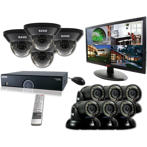 "Revo 16-Channel 4TB 960H DVR Surveillance System with Ten 700TVL 100' Night Vision Cameras and 21.5"" Monitor"