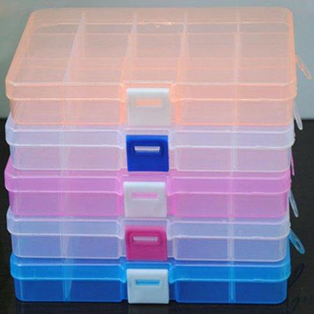 15 Grids Jewelry Nail Art Beads Tool Craft Adjustable Organizer Storage Box Case
