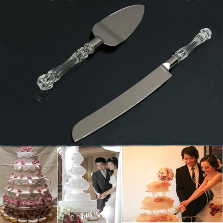Bestller Stainless Steel Cake Knife and Server Set with Faux Crystal Handles for Weddings,Birthdays,Cakes,Home Kitchen Gifts