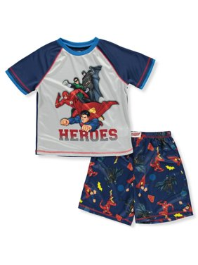 Justice League Boys' Pajama Heroes Mesh Short Sleeve Shirt and Boxer Shorts 2 Piece Set, Navy, Size: Small / 6-7